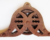 RESERVED FOR SARAH: Rusty Iron Pulley - Vintage Industrial Hardware