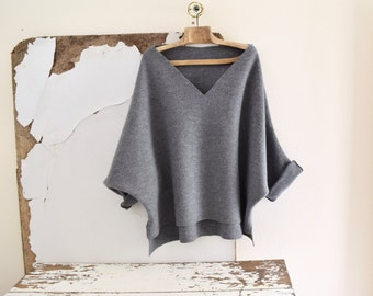Dolman Sleeve Tunic Sweater in Grey Boiled Wool - Raglan Wide Sleeves -  V-Neck.
