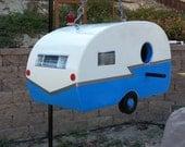 Vintage 50s/60s Travel Trailer Bird House Medium Blue