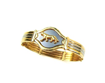 Vintage Jewelry Panther Cuff Bracelet Gold Silver Metal Women Designer Fashion Cartier Style