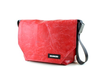 Large Messenger Bag made from Recycled Truck Tarp, Man Bag, Satchel Style Bag, MacBook Bag (53.07)
