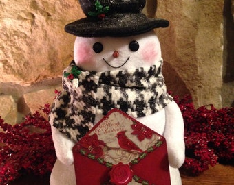 Decorative Fabric Snowman - Christmas in July Sale