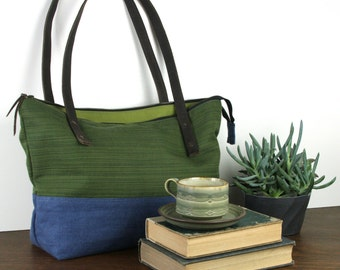 Blue & Green Over the Shoulder zippered tote