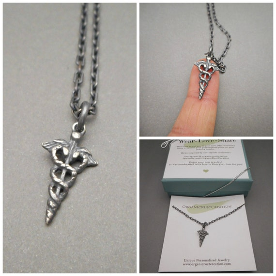 Medical Alert Charm Mens Necklace Mens Jewelry Male