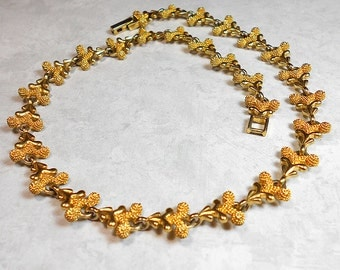 Vintage Necklace Gold Tone Textured Link Metal Mid Century Womens