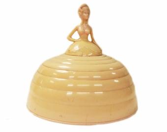 1950s Vintage Betterware Crinoline Lady Powder Bowl Trinket Box