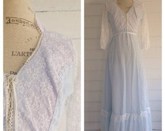 Vintage Baby Blue & White Lace Floor Length Dress