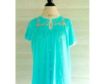 Vintage Blue Nightie - Embroidered and Lace Trimmed Top
