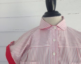 Vintage Red and White Striped 80s Blouse w Peter Pan Collar