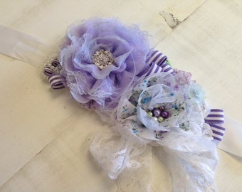 Custom Lavender, Sage and White Rosette Maternity Bridal Sash Vintage-inspired w/ Handrolled Fabric Rosettes & Feathers