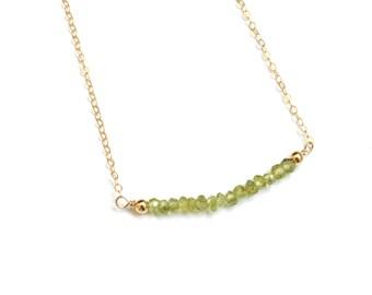 Gemstone Bar Necklace - Peridot - Bar Necklace