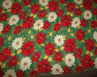 Vintage Christmas tablecloth linen 56 x 56 square holiday entertaining poinsettias flower retro mid century table linens