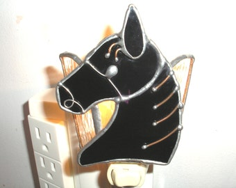 LT Stained glass night light lamp Horse Head wall lighting made with solid black glass
