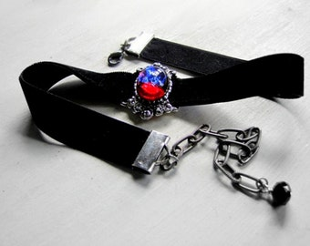 Fire Opal Gothic Ribbon Choker Wiccan Jewelry Victorian Choker Necklace Dragon's Breath Gothic Jewelry Downton Abbey Gothic Wedding