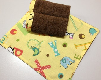 Baby Wash Cloth Set of 3_Brown ABC
