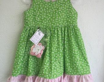 18 Months Girl Dress w/Crochet Headband_Green Floral