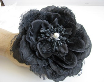Black Flower Corsage Wedding accessory Bridal party gift prom corsage