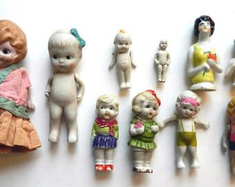 Lot of Ten 1930s Ceramic Dolls