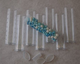48 Clear FDA Plastic Tubes- 4 Inch Candy or Favor Tubes / Caps - Wedding - Party- GIfts / Packaging Wedding Favors /  Birthday / Favor Tubes