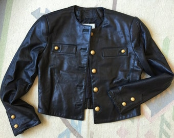 Vintage Carlisle Leather Jacket with Gold Buttons