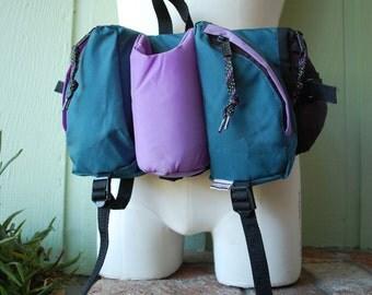 Vintage Purple and Teal Stansport Waist Belt Bag Fanny Pack Hiking Camping Hiker Essential Pack 80s 90s Hipster Biker Preppy Alpine Trekking