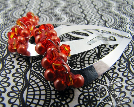 Pumpkin Barrettes, 1 pair, orange pearl hairclips, hair clips, gift for girls, Fall, back to school, Halloween, heart clips - reynared