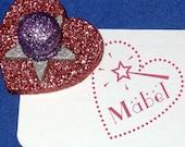 Princess Wand, Girl's Name Stamp, Princess Personalized Gift, Custom Child's Stamp, Magic Wand Stamp, Pink Glitter Heart, Mess Free Glitter