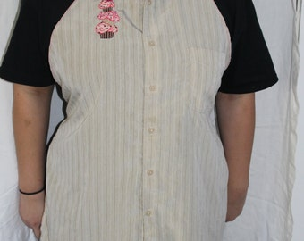 Handmade Apron embroidered with Cupcakes made from Man's dress Shirt