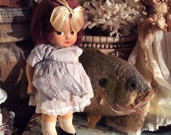 This Little Antique Compostion Doll Has A Fishy Eye