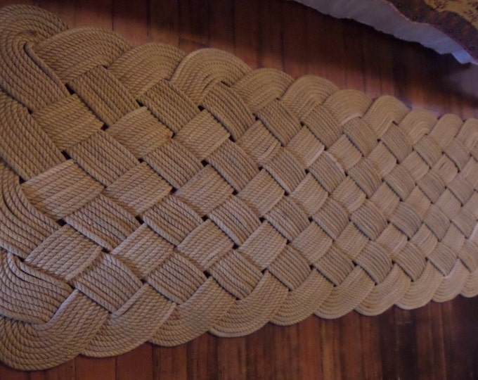 """72"""" x 24"""" Large Soft Runner Rope Rug Nautical Rustic Beach Knotted Tan Khaki Natural Rope Recycled Eco-Friendly"""
