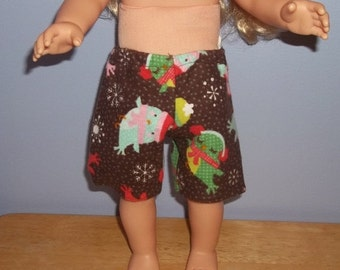 American 18 Inch doll clothes shorts brown flannel with birds and snowflakes on them