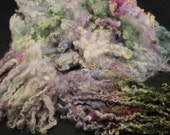 Wensleydale and Teeswater  locks, hand painted fiber fleece for spinning and felting, 3.5 oz