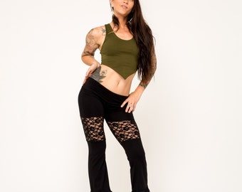 Black Flares- Lace Pants- Bell Bottoms- Yoga Pants- Mermaid Pants- Festival Gear