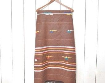 Woven Throw Blanket Cotton Thunderbird Striped Navajo Print 1970s Vintage Light Weight Brown Fringe Picnic Blanket