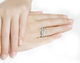 Diamond Engagement Ring Set, Diamond Wedding Ring Set, 14K White Gold Ring, Diamond Bridal Set, Ring Set, Wedding Jewelry, Wedding Ring