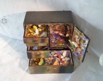 SALE wooden boxed art butterfly assemblage Hidden Places