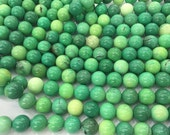 12mm/14mm/16mm/18mm/20mm Round Genuine Green Grass Agate Semiprecious Gemstone Bead Wholesale Beads  15''L Jewelry Supply Wholesale Beads