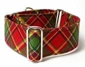 Christmas, Martingale Collar, Red Plaid, Sighthound Collar, Galgo Collar, Greyhound Martingale, Hound Collar, Great Dane Collar