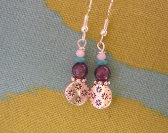 five dollar earrings, five dollar gifts, made in Montana, flower earrings, amethyst, amethyst earrings, jewellery, hypo allergenic