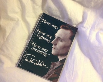 "SUMMER SALE Tom Hiddleston ""Never stop"" memo book"