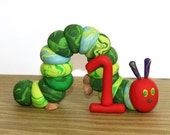 Caterpillar with Age - Clay Birthday Cake Topper