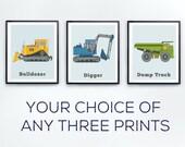 Big Boy Room Prints, Set of 3, Car decor, truck prints, toddler room decor, vehicle room decor, nursery art, nursery truck, boys rooms
