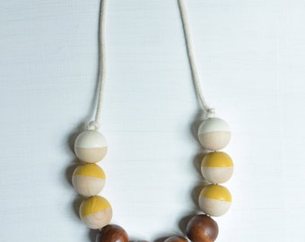 Chunky Walnut Rope Necklace