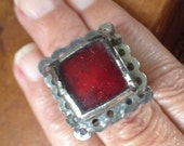Berber Old Double Ring with Red Glass