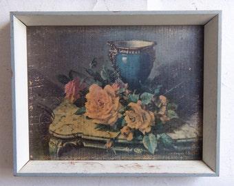 Vintage Roses - Antique/Old Distressed Rose Print Original Frame Great for Shabby Chic Vintage Home Decor