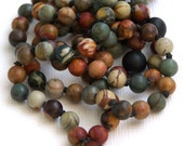 Red Creek Jasper and Matte Onyx Hand Knotted 108 Mala | Petite Mala | Meditation Jewelry | Tassel Necklace | Meditation Necklace