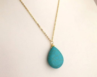 Turquoise Necklace. Long Gold Turquoise Necklace. Layered Necklace. Layering.Turquoise Jewelry.Blue Necklace.Simple Everyday Necklace.Dainty