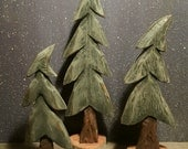 Hand Carved Wind Blown Folk Art Pine Trees ~ Set of 3  ~ Original Design and Handmade by artist Robert Neel ~  Signed and Dated