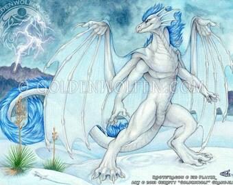 Blue Storm Dragon White Sands Print