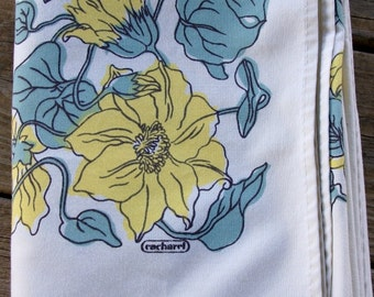 Vintage Yellow and Blue Floral rectangle Tablecloth by Cacharel